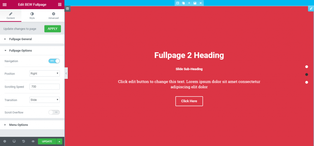 How to create Fullpage scrolling websites with Elementor